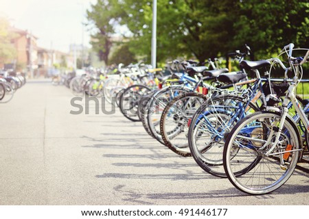 bikes are parked. background. sport