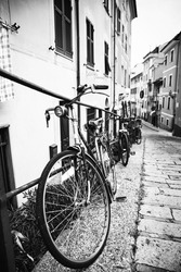 Bikes in an old street