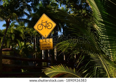 Bikes sharing roadway sign in the US with palm tree leaves in the background, yellow sign warning automobilists they have to share the road with bikes Stockfoto ©