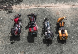 Bikes Shot from drone at the fest in Cesis. Motorcycles view from top