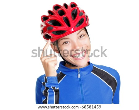 Biking helmet woman pointing at bicycle helmet ? remember to wear your ...
