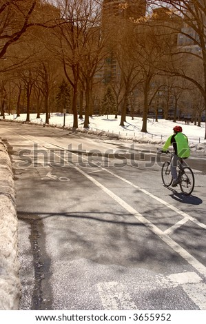 Biking in Central Park (New York) in wintertime