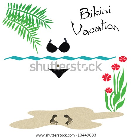 bikini beach vacation poster sand and footprints