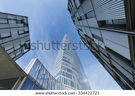 Bilbao, Basque country, Spain,  october 30: Iberdrola tower and modern apartment buildings. #334422725