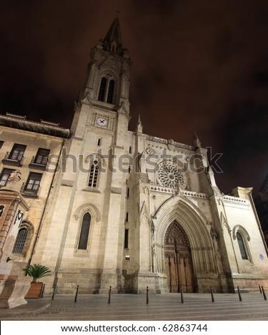 "Bilbao cathedral in ""casco viejo"" at night - stock photo"