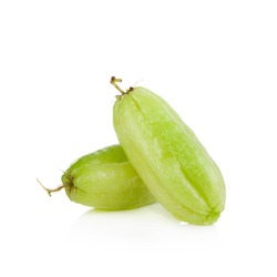 Bilimbi (Averhoa bilimbi Linn.) or cucumber fruit slice on white background