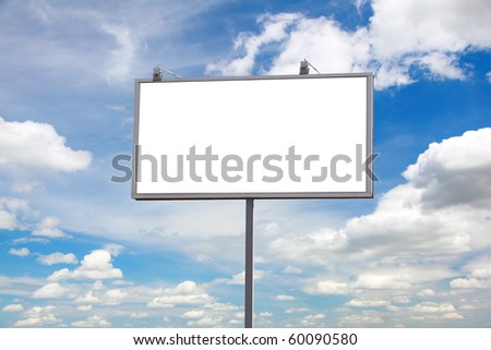 bill board advertisement under blue sky with clouds