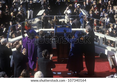 Bill Clinton, 42nd President, waves to the crowd on Inauguration Day January 20, 1993 in Washington, DC