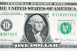 Bill one dollar, with George Washington Presidente.