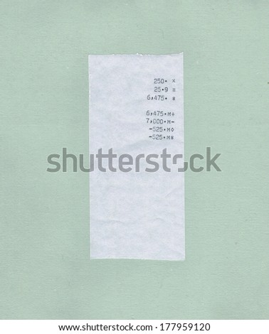 bill or receipt isolated over light green paper background