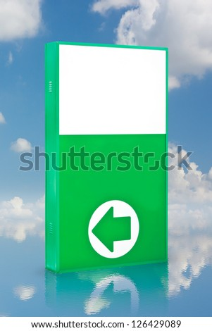 billboard and arrow direction on water refection on the water with blue sky background