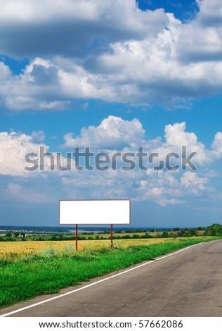 Billboard and long road. Element of design.