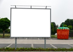 Billboard at a parking lot of an supermarket in germany