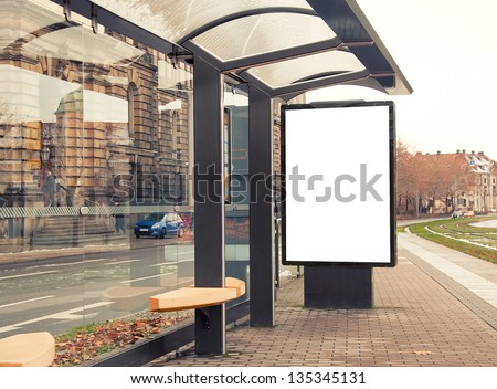 Billboard, banner, empty, white at a bus stop