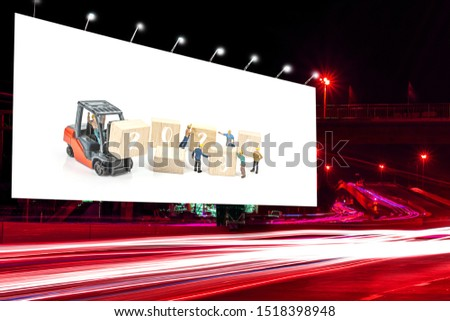 billboard blank for outdoor advertising poster at night time for advertisement street light with miniature worker and 2020 text on wooden blog ,image for  inspiration concept.  #1518398948