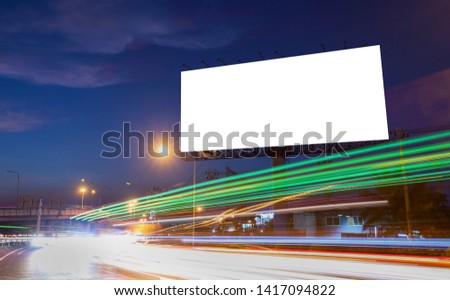 billboard blank for outdoor advertising poster or blank billboard at night time for advertisement. street light