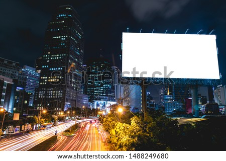 billboard blank for outdoor advertising poster or blank billboard at night time for advertisement. street light #1488249680