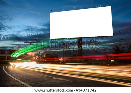 billboard blank for outdoor advertising poster or blank billboard at night time for advertisement. street light - Shutterstock ID 434071942