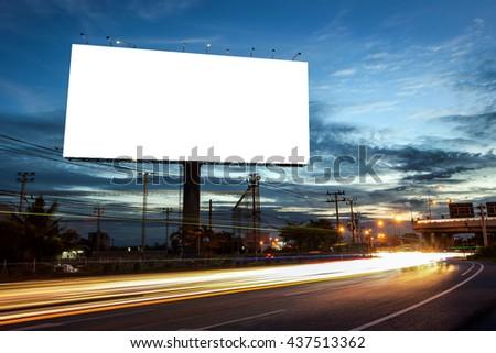 billboard blank for outdoor advertising poster or blank billboard at night time for advertisement. street light - Shutterstock ID 437513362