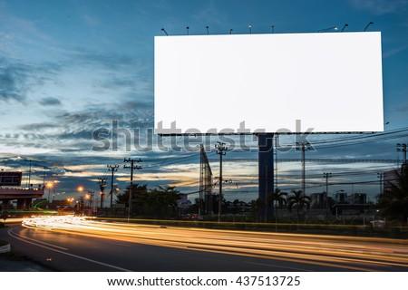 billboard blank for outdoor advertising poster or blank billboard at night time for advertisement. street light - Shutterstock ID 437513725