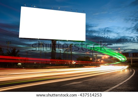 billboard blank for outdoor advertising poster or blank billboard at night time for advertisement. street light - Shutterstock ID 437514253