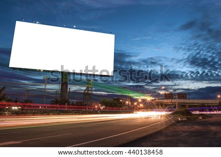billboard blank for outdoor advertising poster or blank billboard at night time for advertisement. street light. - Shutterstock ID 440138458