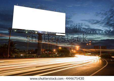 billboard blank for outdoor advertising poster or blank billboard at night time for advertisement. street light - Shutterstock ID 444675430