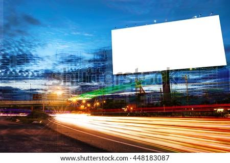 billboard blank for outdoor advertising poster or blank billboard at night time for advertisement. street light for business. - Shutterstock ID 448183087