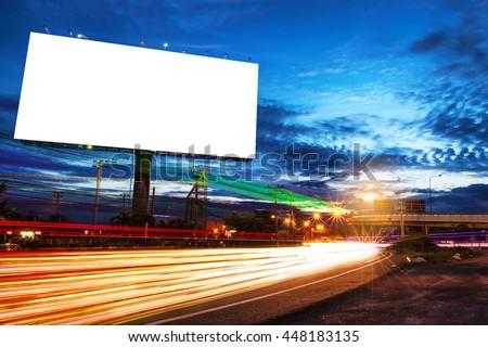 billboard blank for outdoor advertising poster or blank billboard at night time for advertisement. street light for business. - Shutterstock ID 448183135