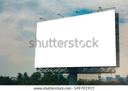 billboard blank for outdoor advertising poster or blank billboard at night time for advertisement.  #549701911