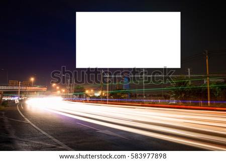 billboard blank for outdoor advertising poster or blank billboard at night time for advertisement. street light - Shutterstock ID 583977898