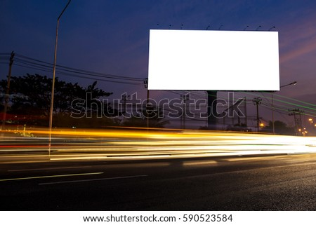 billboard blank for outdoor advertising poster or blank billboard at night time for advertisement. street light #590523584