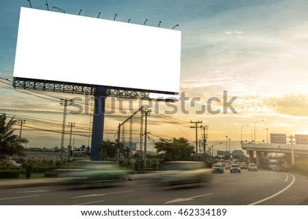 billboard blank for outdoor advertising poster or blank billboard at sunset time for advertisement. #462334189