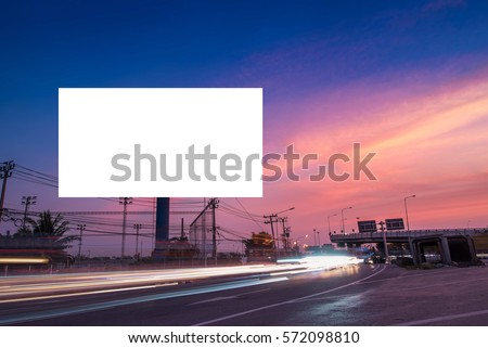 billboard blank for outdoor advertising poster or blank billboard at twilight time for advertisement. street light #572098810