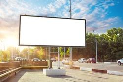 Billboard canvas mock up in city background beautiful sunshine