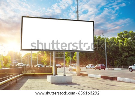 Billboard canvas mock up in city background beautiful sunshine - Shutterstock ID 656163292