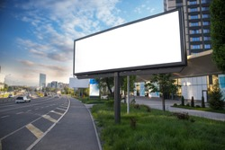 Billboard canvas mockup in city background beautiful weather
