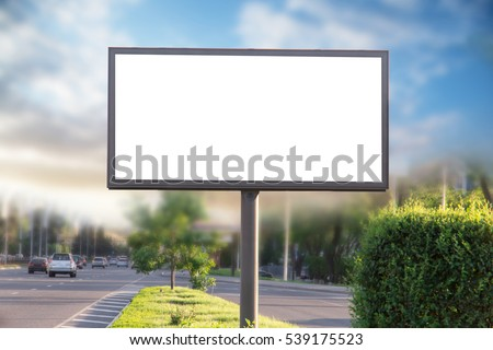 Billboard canvas mockup in city background. beautiful weather - Shutterstock ID 539175523