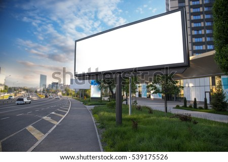 Shutterstock Billboard canvas mockup in city background beautiful weather