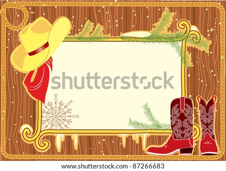 Cowboy Hat And Boots Background With Cowboy Hat And Boots