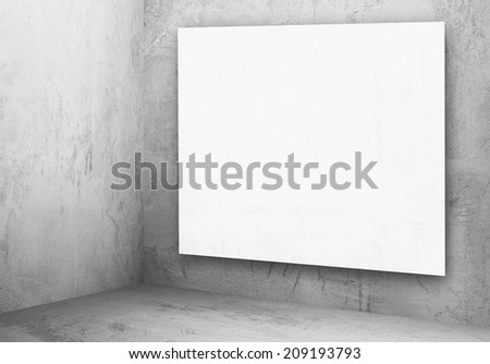 billboard in corner of old grunge gray room #209193793