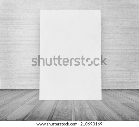 billboard in old grunge room, gray retro background  #210693169