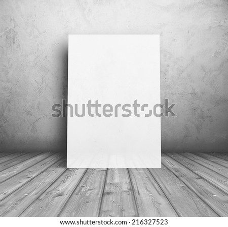 billboard in old room, grey background with placard #216327523
