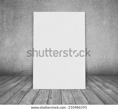 billboard in old room with concrete wall and wooden floor, gray background #210486595