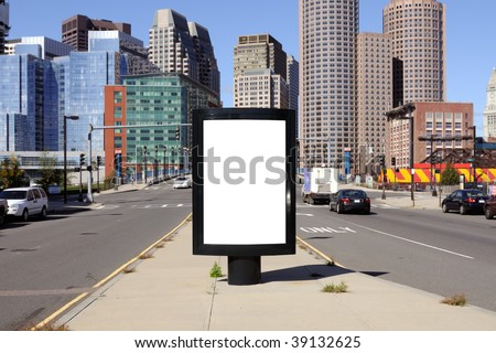 Billboard in the city. Boston downtown district in the background