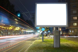 Billboard in the city street, blank screen clipping path included
