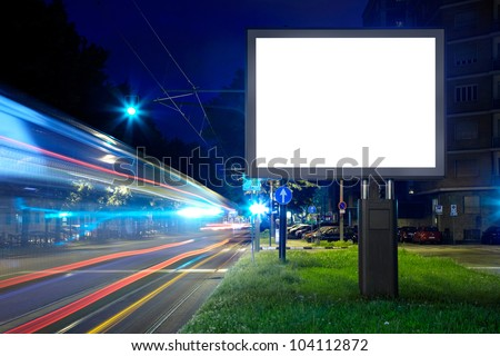 Billboard in the city street, blank screen, clipping path included