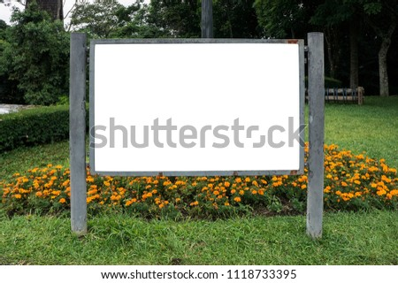 billboard information sign blank outdoors grass nature park flowers
