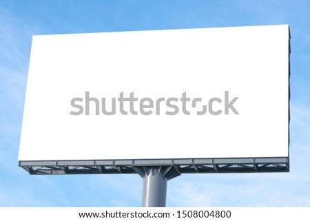 Billboard - Large Blank Billboard with empty screen and beautiful cloudy sky for outdoor advertising poster,Copy space banner ready for your advertisement design or mock up text.Business Concept.