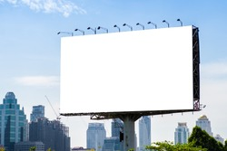 Billboard mockup outdoors, Outdoor advertising poster on the street for advertisement street city. With clipping path on screen.
